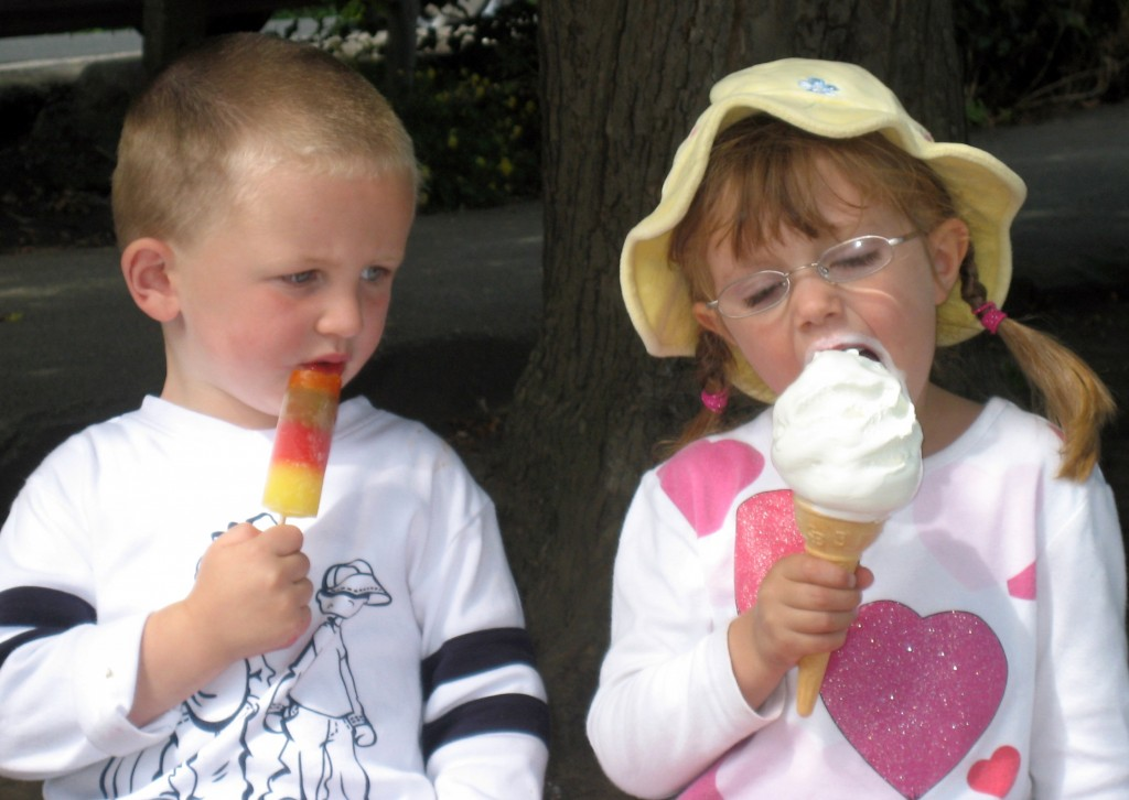 Boy and girl and ice cream