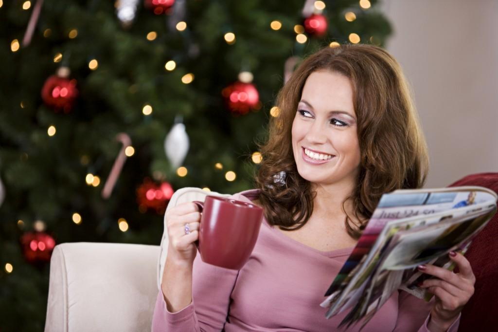 Christmas woman with mug