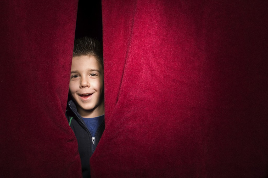 Child Through Curtain