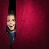 Child Through Curtain