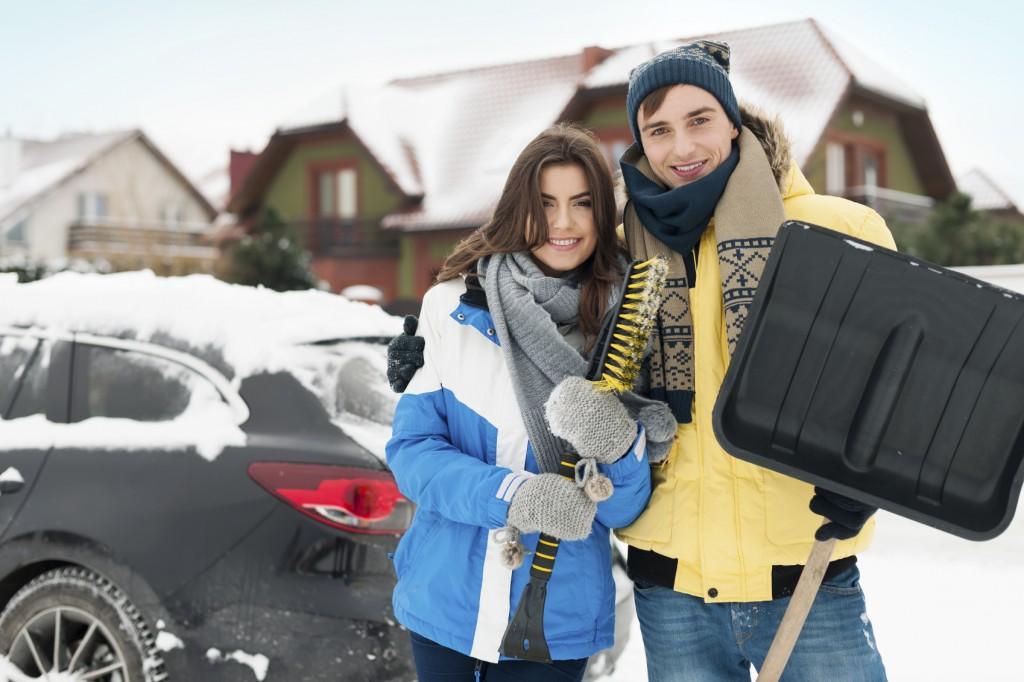 Shoveling snow couple