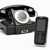 Modern and vintage telephones