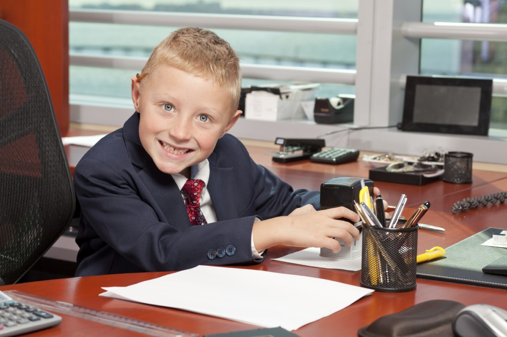 Boy at office