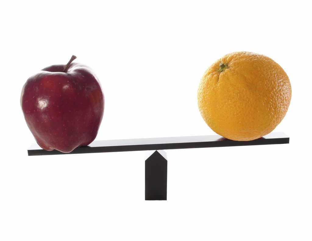 Metaphor compare apples to oranges light (others)