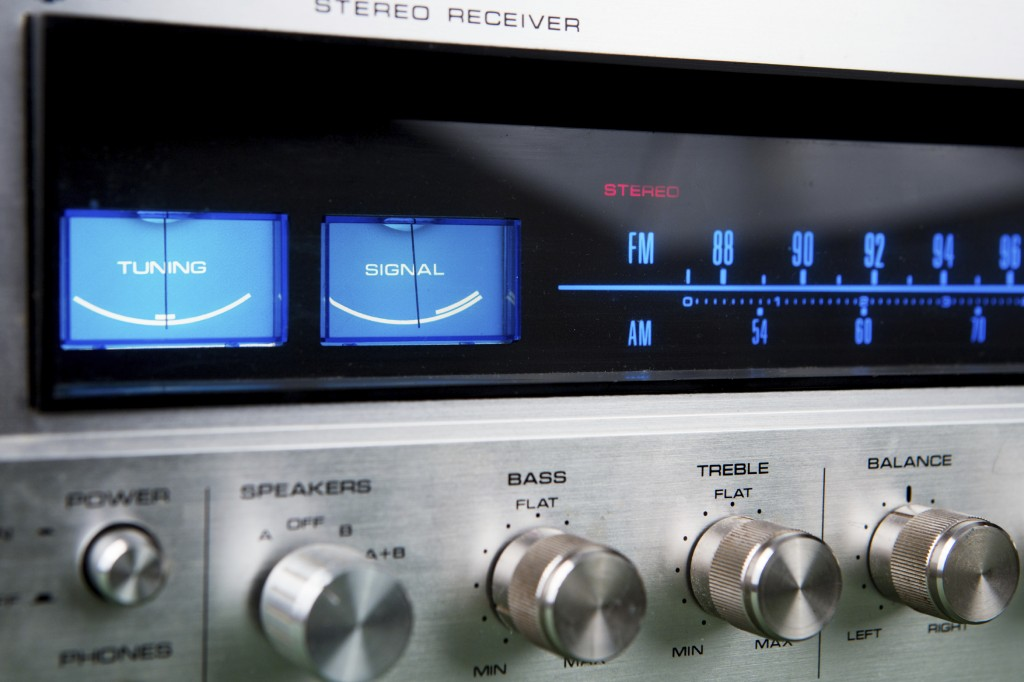 Vintage stereo amplifier with tuner