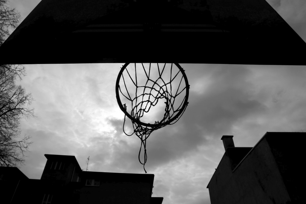 Close up of basketball hoop from below