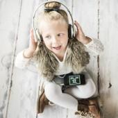 cute girl wearing headphones