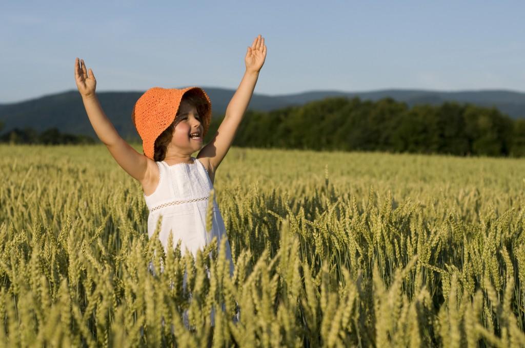 Happy little girl in the field.