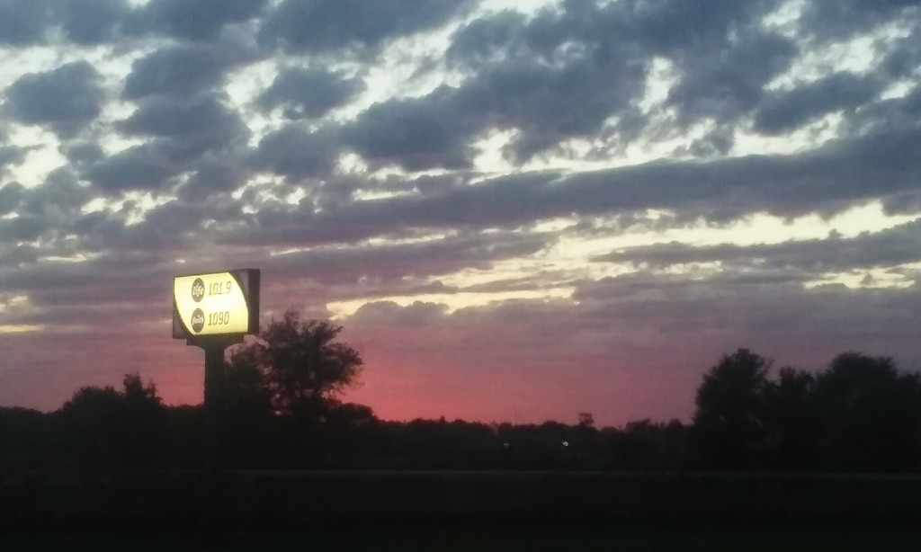 sign and sunset
