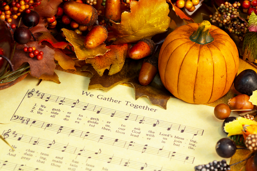 Religious: Thanksgiving Hymn with Pumpkin and fall decorations