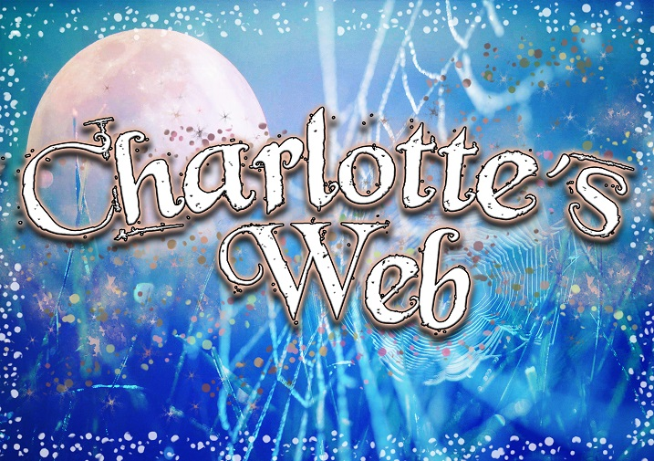 Blue image with a white moon and white web with words Charlotte's Web