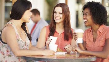 Three Female Friends Meeting In CafŽe